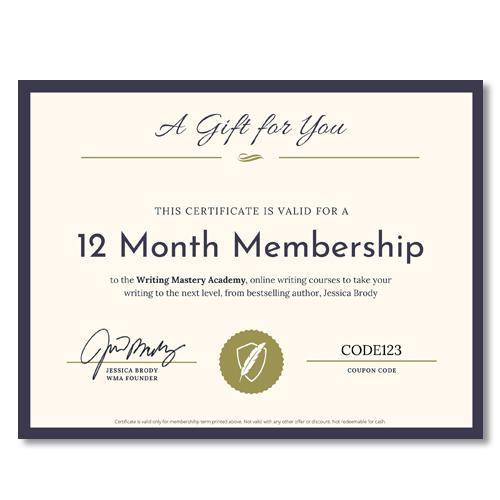 Writing Mastery Academy 12 Month Gift Certificate