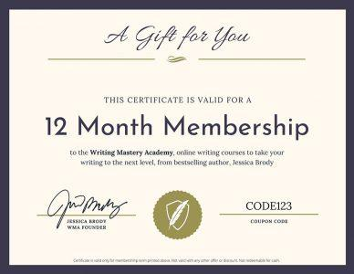 Writing Mastery Academy Gift Certificate
