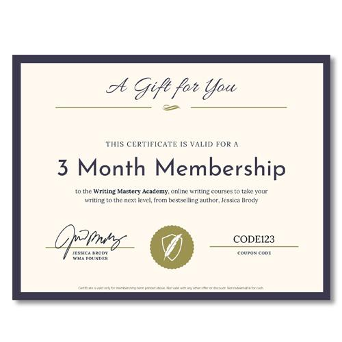 Writing Mastery Academy 3 Month Gift Certificate